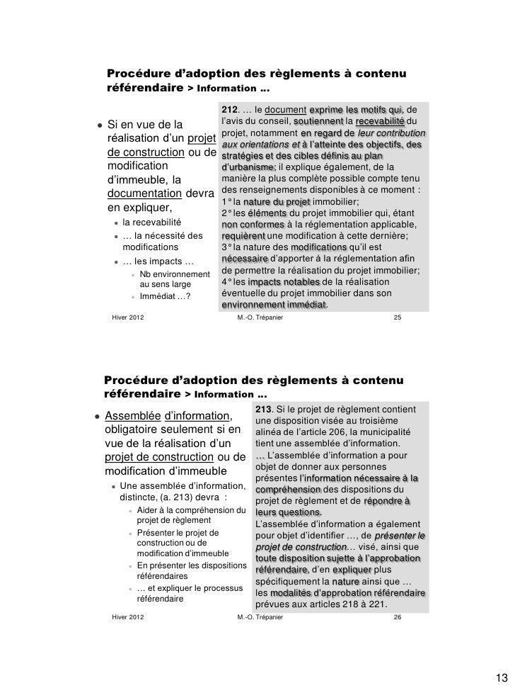 Procédure d'adoption des règlements à contenu    référendaire > Information …                          212. … le document ...
