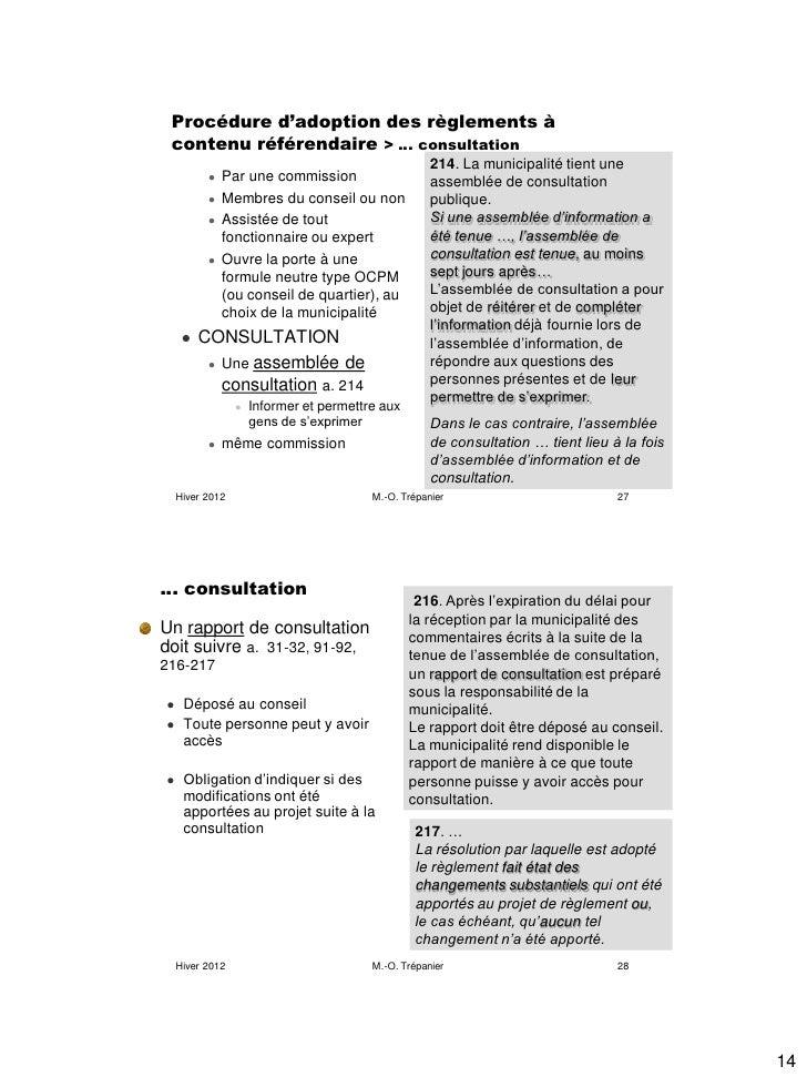 Procédure d'adoption des règlements à contenu référendaire > … consultation                                               ...