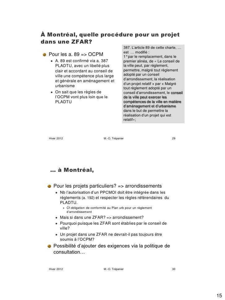 À Montréal, quelle procédure pour un projetdans une ZFAR?                                                      387. L'arti...