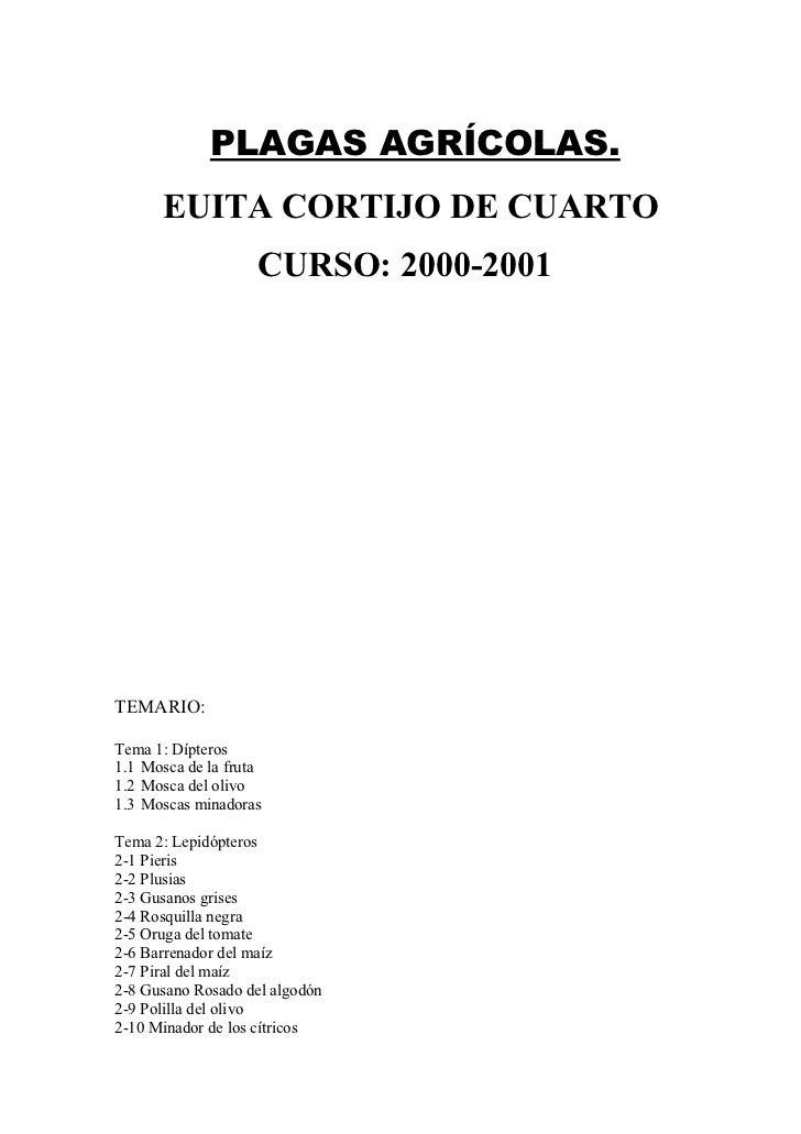 PLAGAS AGRÍCOLAS.      EUITA CORTIJO DE CUARTO                    CURSO: 2000-2001TEMARIO:Tema 1: Dípteros1.1 Mosca de la ...