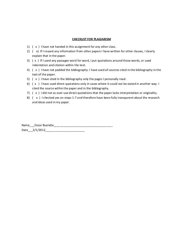 CHECKLIST FOR PLAGIARISM   1) ( x ) I have not handed in this assignment for any other class.   2) ( x) If I reused any in...