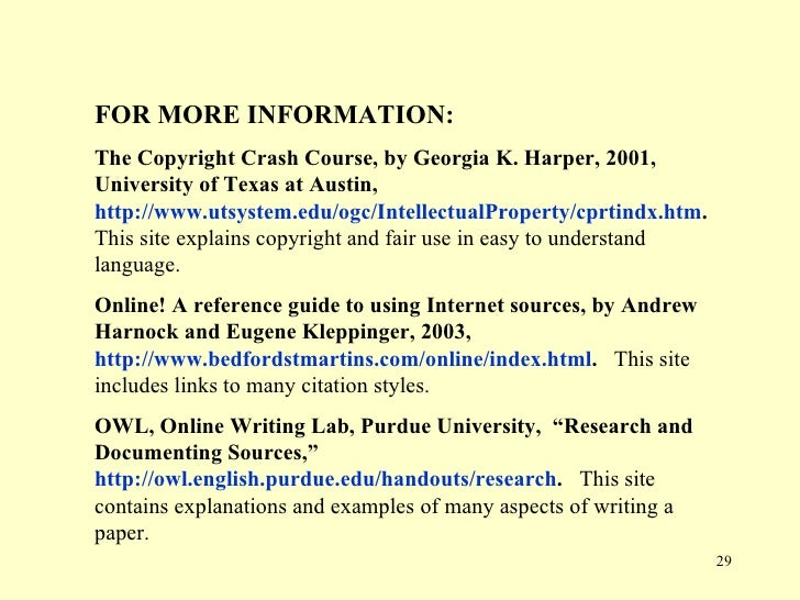 Documenting internet sources research paper