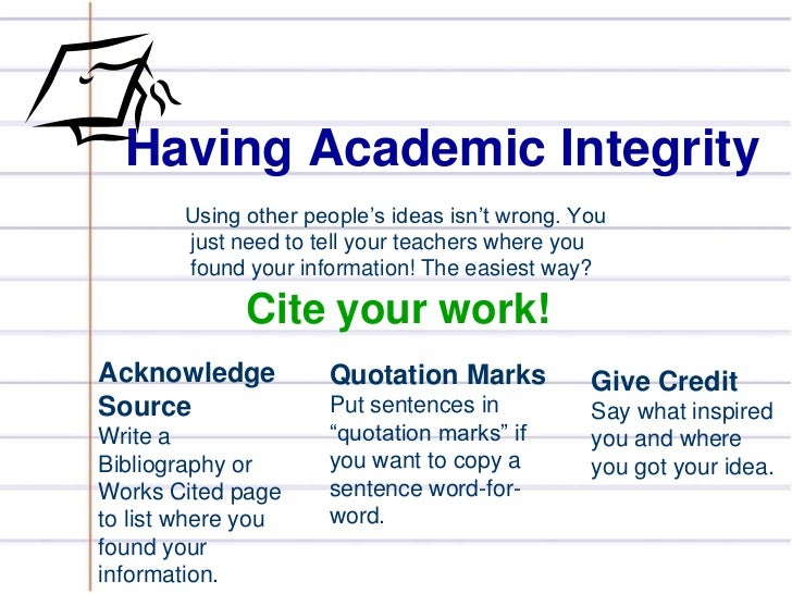 academic integrity and plagiarism Student life committee / academic integrity and plagiarism resources  has a  helpful on-line tutorial about plagiarism, including self-tests and examples the.