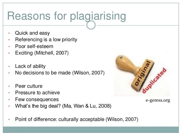 The reasons for student plagiarism and