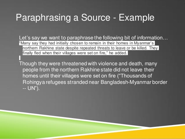"""Quoting a Source - Example UNICEF spokesperson Marixie Mercado emphasized the need for more funding,stating """"Rohingya chil..."""