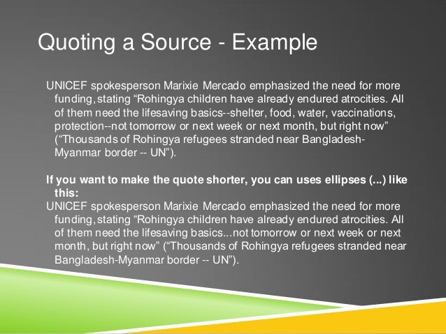 """Works Cited - Example """"Thousands of Rohingya refugees stranded near Bangladesh- Myanmar border -- UN."""" UN News Centre. Uni..."""