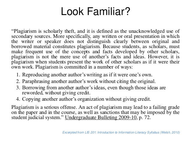 Ways to commit plagiarism