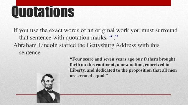 Plagiarism V Paraphrasing Gettysburg Addres Paraphrased Sentences