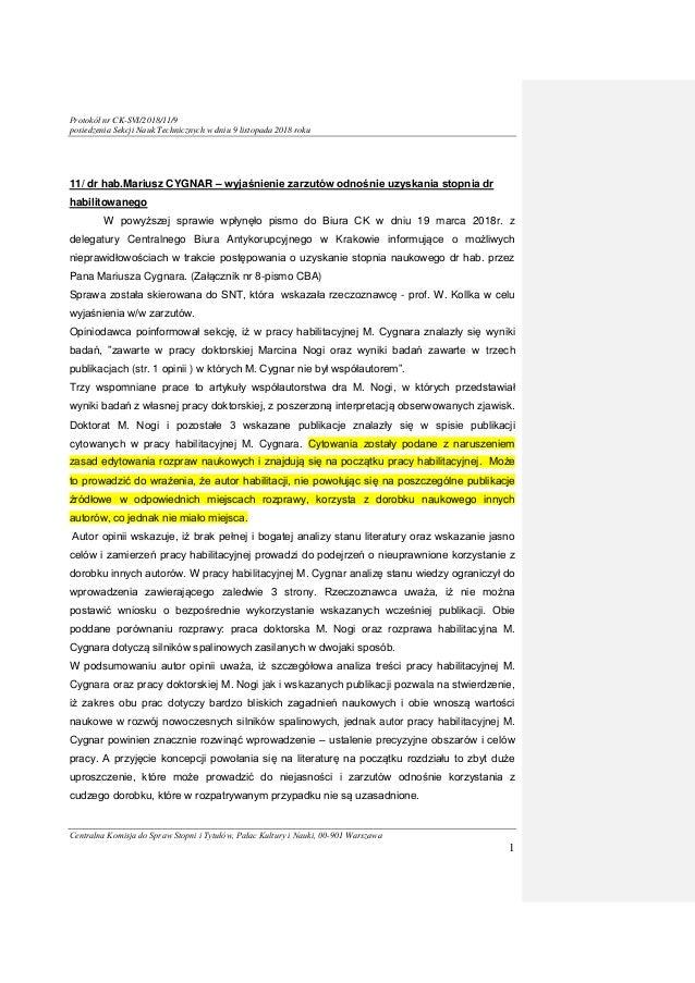 Protokół nr CK-SVI/2018/11/9 posiedzenia Sekcji Nauk Technicznych w dniu 9 listopada 2018 roku Centralna Komisja do Spraw ...