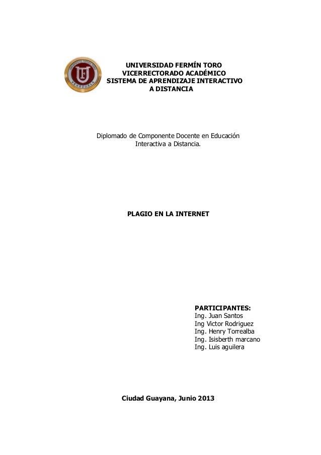 UNIVERSIDAD FERMÍN TOROVICERRECTORADO ACADÉMICOSISTEMA DE APRENDIZAJE INTERACTIVOA DISTANCIADiplomado de Componente Docent...