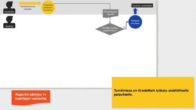 Raportin säilytys 1v (opettajan vastuulla)  Turnitinissa on GradeMark työkalu sisällölliselle palautteelle.