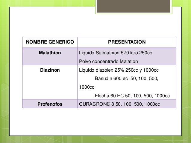NOMBRE GENERICO Malathion  PRESENTACION Liquido Sulmathion 570 litro 250cc Polvo concentrado Malation  Diazinon  Liquido d...