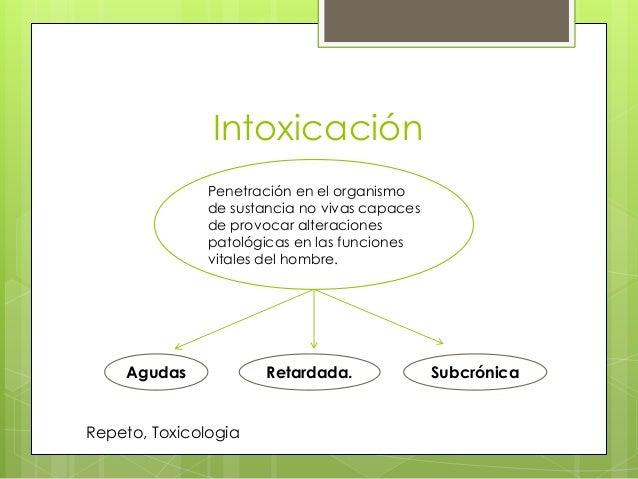 Intoxicación Penetración en el organismo de sustancia no vivas capaces de provocar alteraciones patológicas en las funcion...