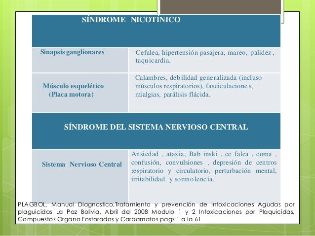 SÍNDROME NICOTÍNICO  Sinapsis ganglionares  Músculo esquelético (Placa motora)  Cefalea, hipertensión pasajera, mareo, pal...