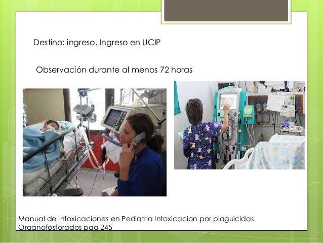 Destino: ingreso. Ingreso en UCIP Observación durante al menos 72 horas  Manual de Intoxicaciones en Pediatria Intoxicacio...