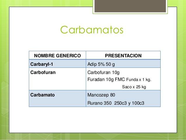 Carbamatos NOMBRE GENERICO  PRESENTACION  Carbaryl-1  Adip 5% 50 g  Carbofuran  Carbofuran 10g Furadan 10g FMC Funda x 1 k...