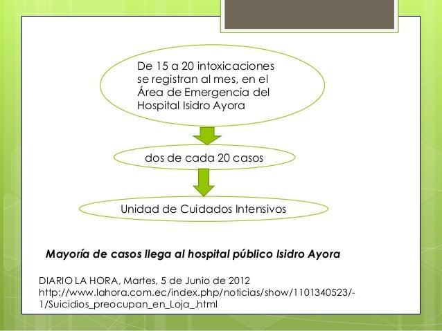 De 15 a 20 intoxicaciones se registran al mes, en el Área de Emergencia del Hospital Isidro Ayora  dos de cada 20 casos  U...
