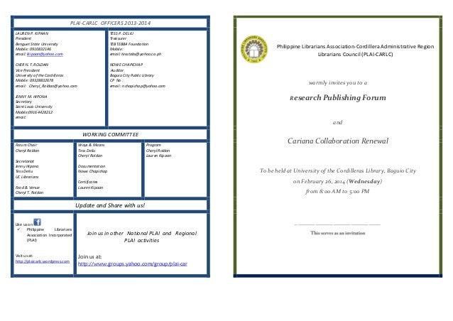 PLAI-CARLC OFFICERS 2013-2014 LAUREN P. KIPAAN President Benguet State University Mobile: 0910832146 email: lkipaan@yahoo....