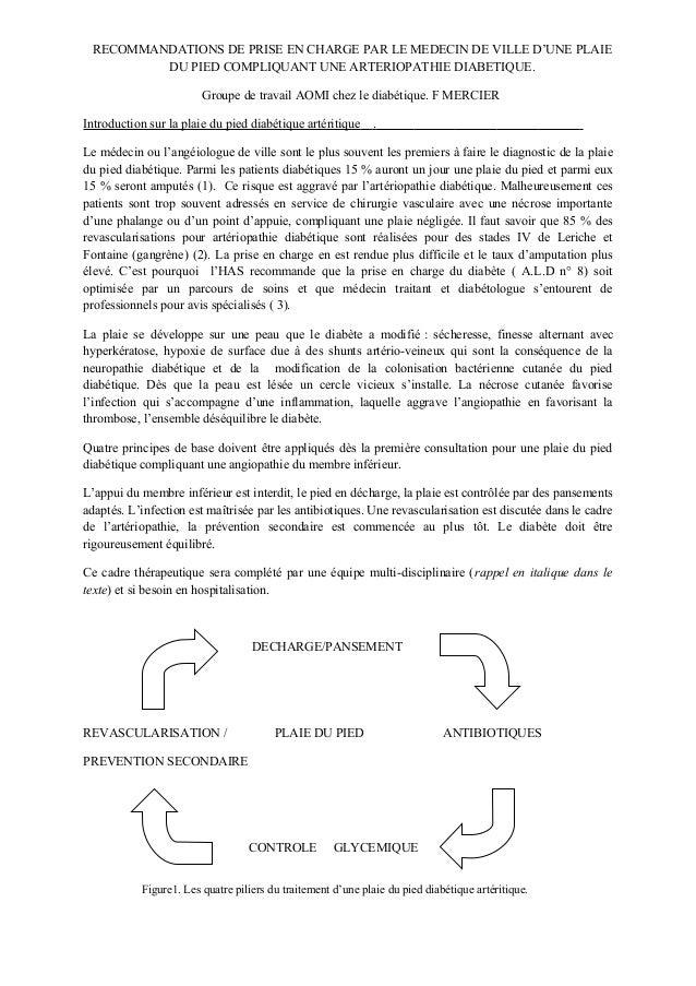RECOMMANDATIONS DE PRISE EN CHARGE PAR LE MEDECIN DE VILLE D'UNE PLAIE         DU PIED COMPLIQUANT UNE ARTERIOPATHIE DIABE...