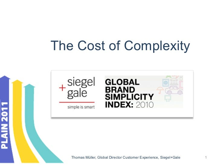 The Cost of Complexity   Thomas Müller, Global Director Customer Experience, Siegel+Gale   1