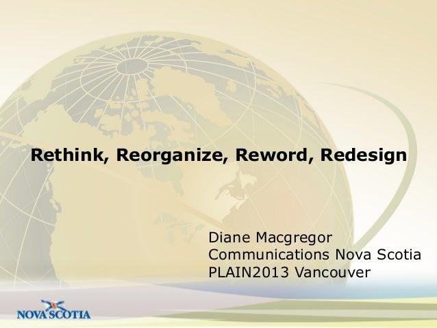 Rethink, Reorganize, Reword, Redesign  Diane Macgregor Communications Nova Scotia PLAIN2013 Vancouver