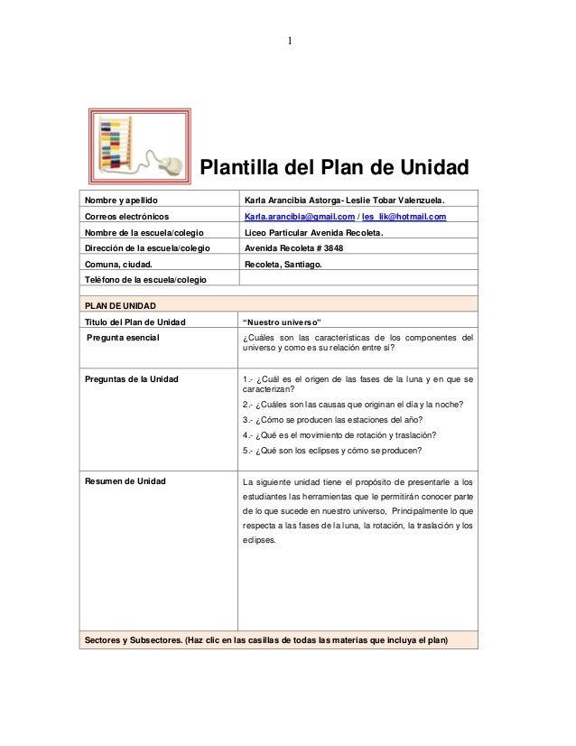 1Plantilla del Plan de UnidadNombre y apellido Karla Arancibia Astorga- Leslie Tobar Valenzuela.Correos electrónicos Karla...