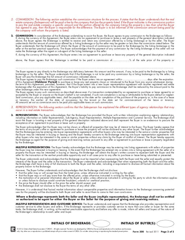 Buyer Representation Agreement Ontario