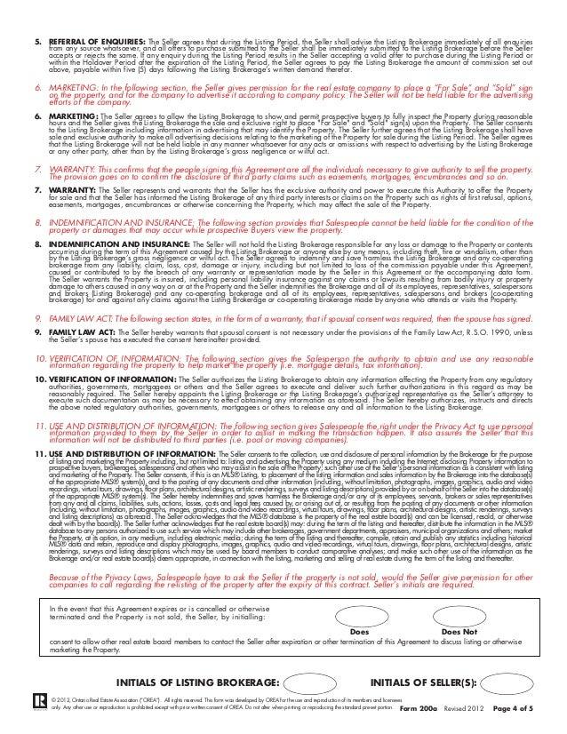 Listing Agreement Ontario