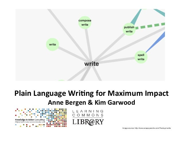 Plain&Language&Wri-ng&for&Maximum&Impact& Anne&Bergen&&&Kim&Garwood& ! ! Image source: http://www.snappywords.com/?lookup=...