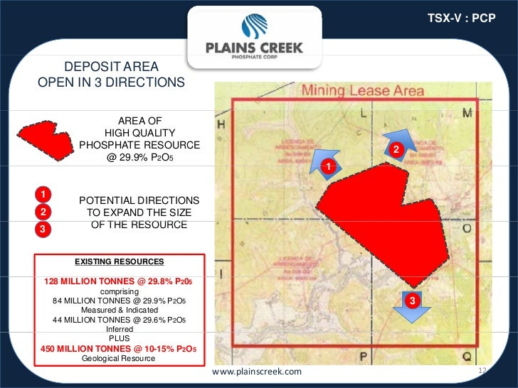TSX-V : PCP   DEPOSIT AREAOPEN IN 3 DIRECTIONS               AREA OF             HIGH QUALITY         PHOSPHATE RESOURCE  ...
