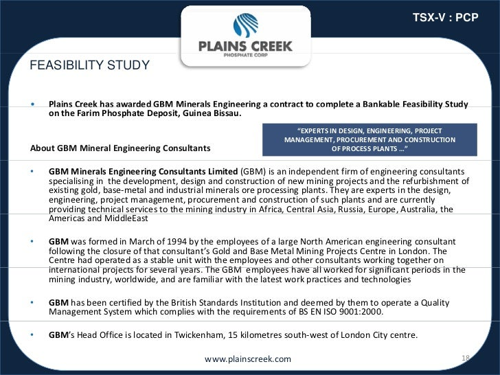 TSX-V : PCPFEASIBILITY STUDY•     a s C ee as a a ded G           e a s g ee g a co t act to co p ete a a ab e eas b ty St...