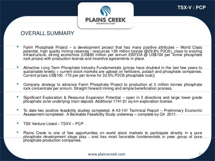 TSX-V : PCP    OVERALL SUMMARY•   Farim Phosphate P j t – a d    F i Ph        h t Project        development project th t...