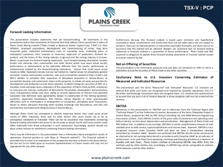 TSX-V : PCPForwardLookingInformationThis presentation includes statements that are forward‐looking. All statements in th...