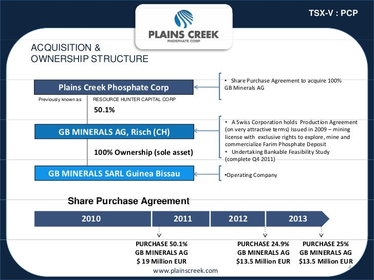 TSX-V : PCPACQUISITION &OWNERSHIP STRUCTURE                                                                             • ...