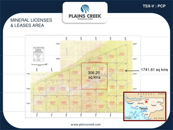 TSX-V : PCPMINERAL LICENSES& LEASES AREA                                         1741.61 sq kms                           ...