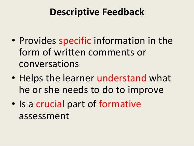 Just as a thermostat adjusts a room temperature, effective feedback helps maintain a supportive environment for learning. ...