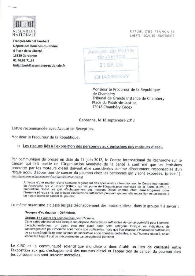455ÊMBLEE NATIONALE Frençois-Mich€l Lâmbert Député des Bouches-du-Rhône 6 Plâce de la Liberté 13120 cerdanne 01.40.63.71.6...