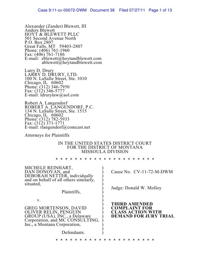 Case 9:11-cv-00072-DWM Document 38   Filed 07/27/11 Page 1 of 13Alexander (Zander) Blewett, IIIAnders BlewettHOYT & BLEWET...
