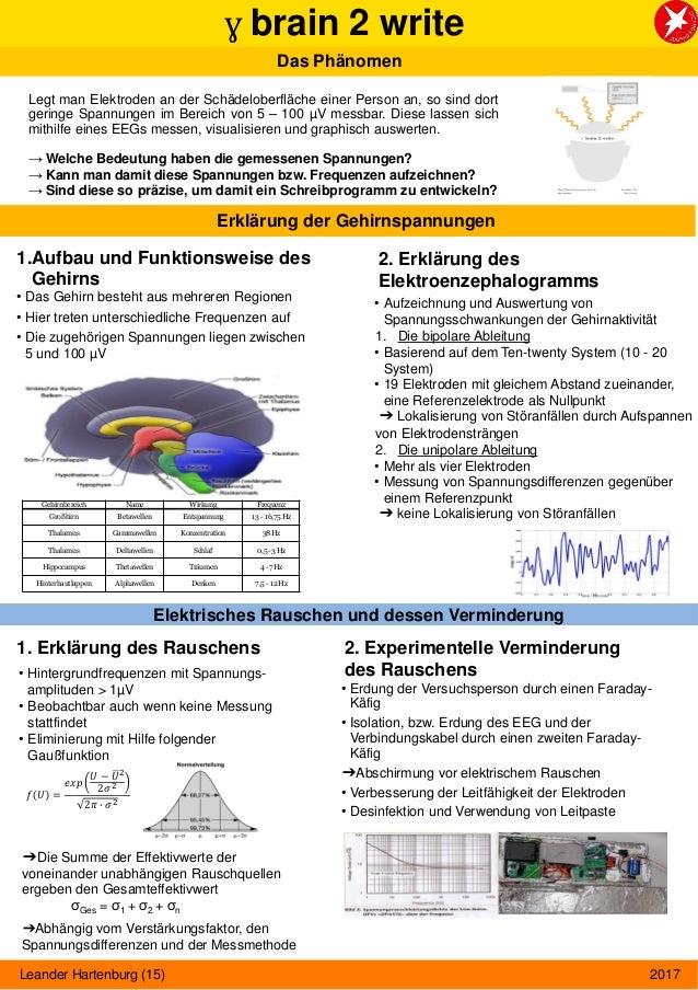 ɣ brain 2 write Das Phänomen Legt man Elektroden an der Schädeloberfläche einer Person an, so sind dort geringe Spannungen...