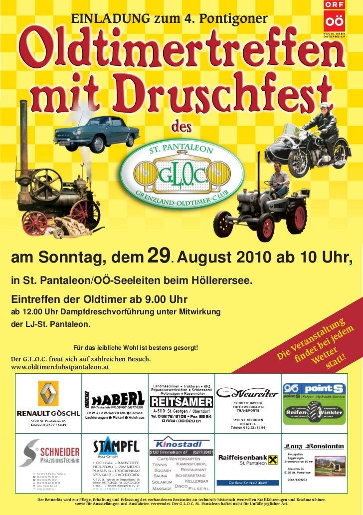 EINLADUNG zum 4. Pontigoner     am Sonntag, dem 29. August 2010 ab 10 Uhr, in St. Pantaleon/OÖ-Seeleiten beim Höllerersee....