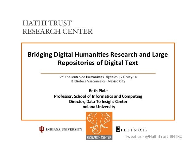 Bridging	   Digital	   Humani/es	   Research	   and	   Large	    Repositories	   of	   Digital	   Text	    2nd	   Encuentr...