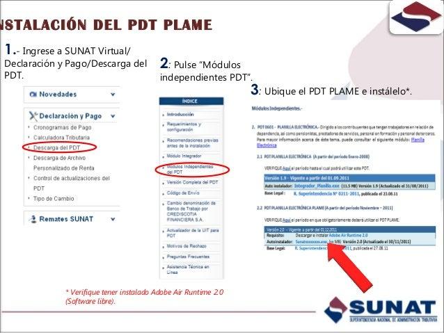 DE LOS DATOS DEL EMPLEADOR PDT-PLANILLA ELECTRÓNICA PLAME