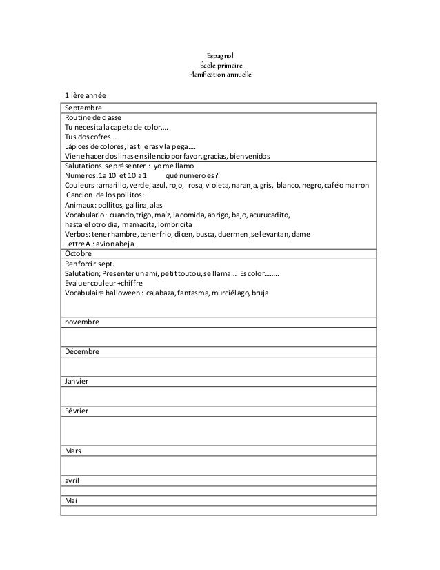 Espagnol  École primaire  Planification annuelle  1 ière année  Septembre  Routine de classe  Tu necesita la capeta de col...