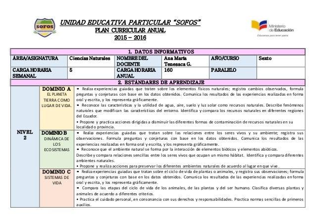 Plan anual curricular formato for Diseno curricular nacional 2016 pdf