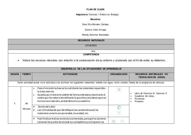 PLAN DE CLASE Asignatura: Ciencias I Énfasis en Biología Maestras: Dora Elia Morales Callejas Zuleica Celia Arriaga Wendy ...