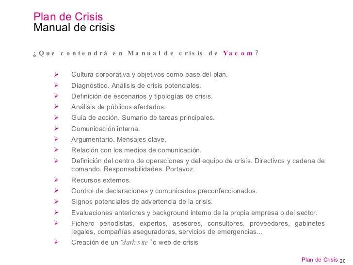 Gestión de Crisis. Plan De Crisis