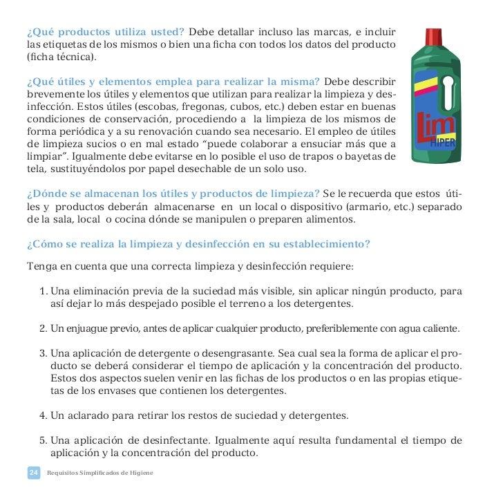 Plan de higiene reducido for Manual de limpieza y desinfeccion en restaurantes