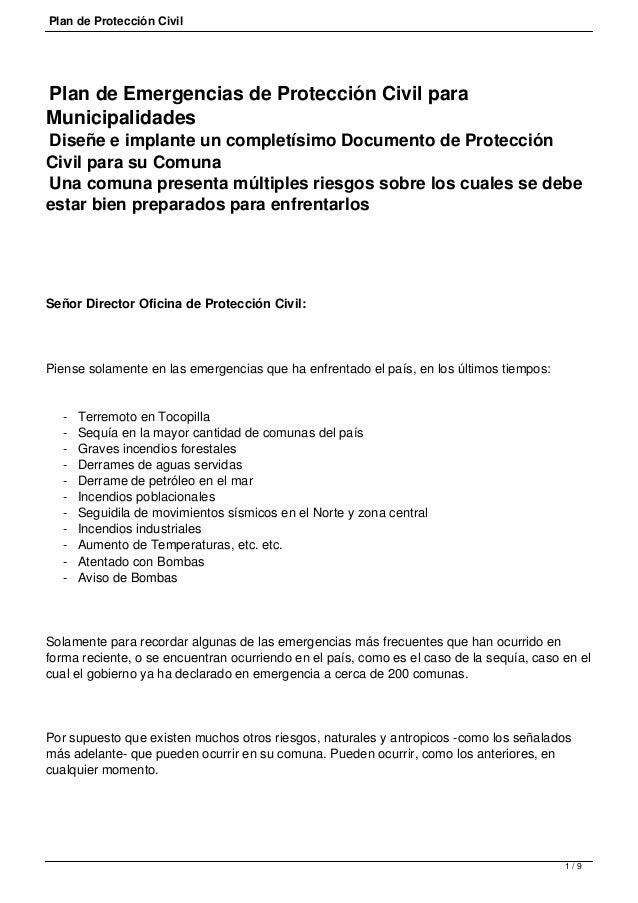 Plan de Protección Civil  Plan de Emergencias de Protección Civil para Municipalidades  Diseñe e implante un completísimo ...