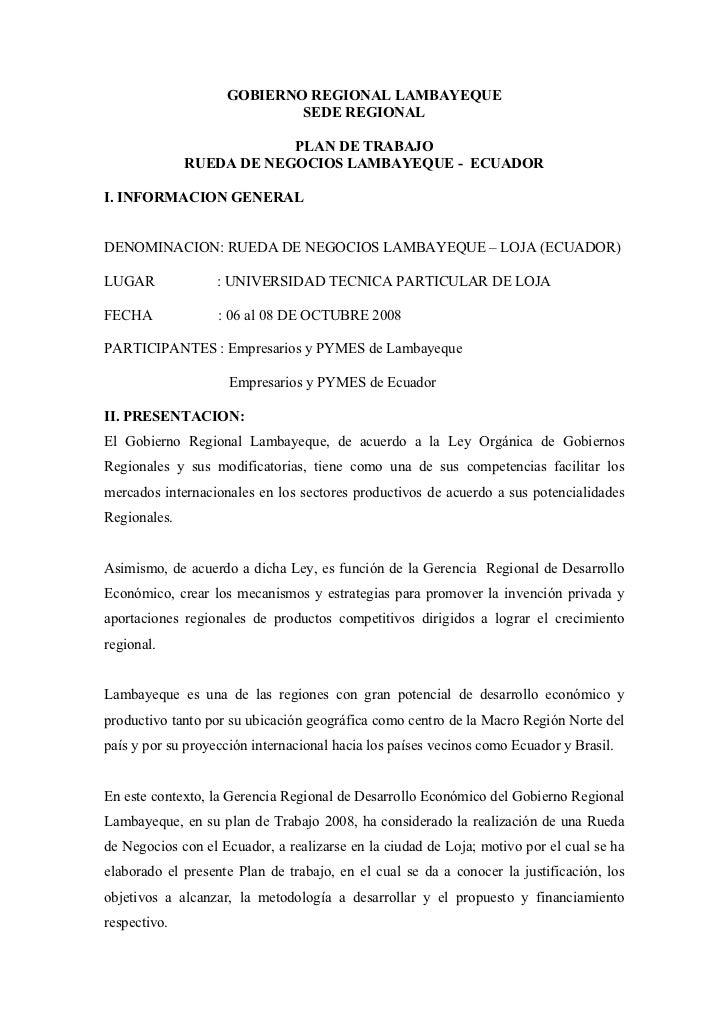 GOBIERNO REGIONAL LAMBAYEQUE                             SEDE REGIONAL                            PLAN DE TRABAJO         ...