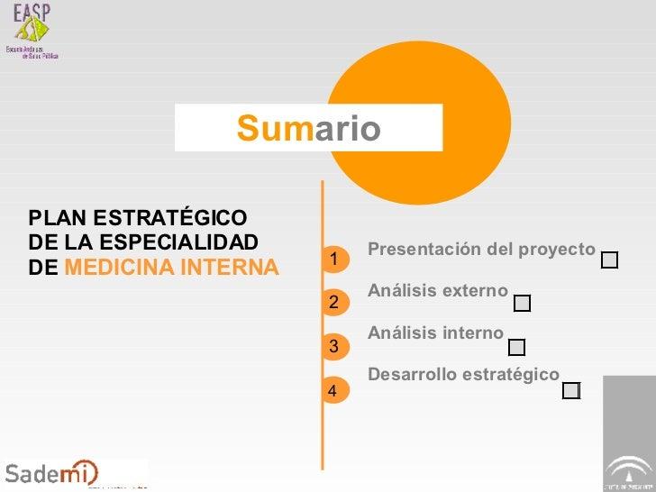 Sum ario PLAN ESTRATÉGICO DE LA ESPECIALIDAD DE  MEDICINA INTERNA Presentación del proyecto Análisis externo Análisis inte...